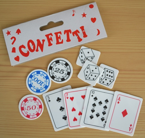 Poker-dice-card table decor