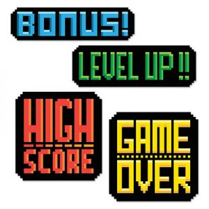 8 - Bit action signs 80's decor
