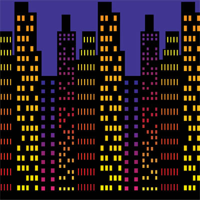 Cityscape backdrop superhero decor