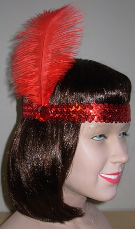 Red sequin 1920's headdress