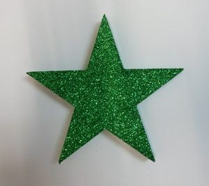 Star decor green glitter
