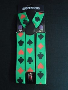 Card suit green suspenders