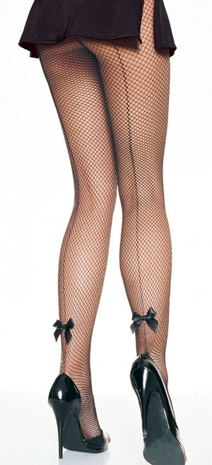 Fishnet with back seam and bow