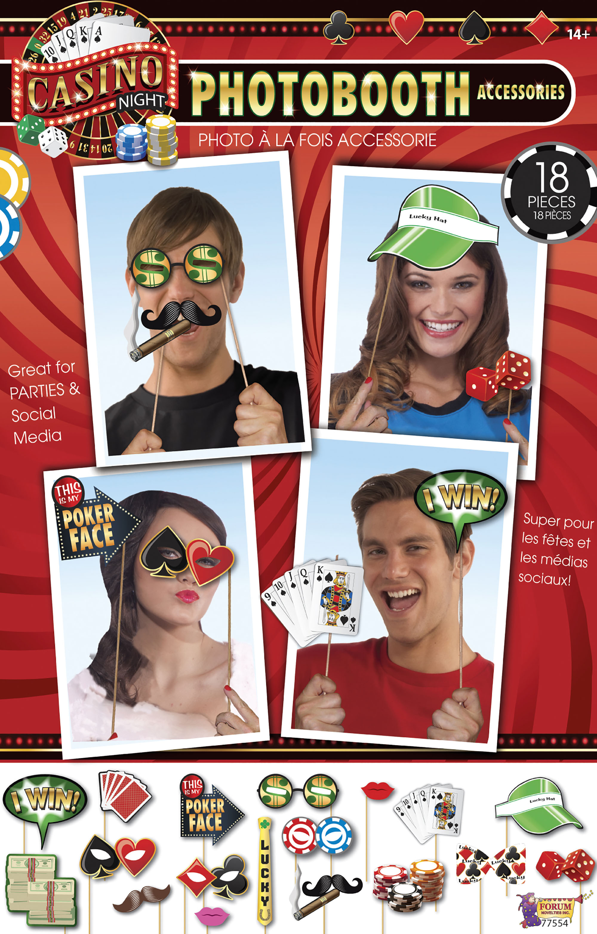 Casino photo booth props