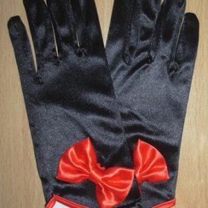 Short satin ladies gloves