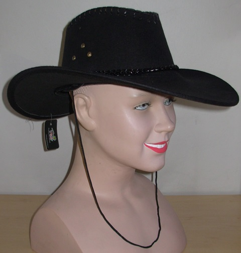 Black suede cowboy hat