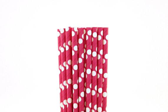 Pink polka dot straws