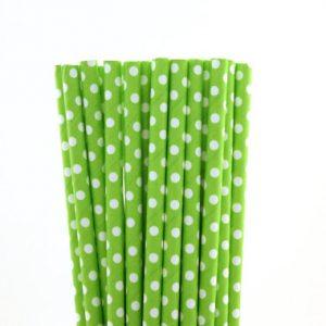 Green polka dot straws
