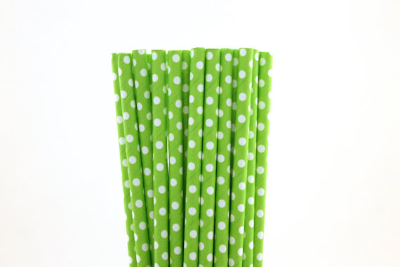 Green polka dot straws