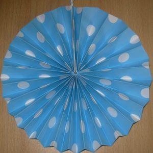 Polka dot fan decoration blue