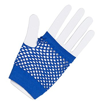 Royal blue fishnet gloves