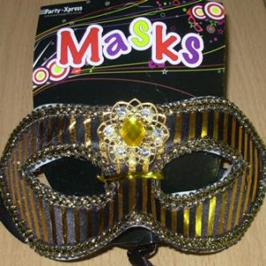 Gold & black stripe mask