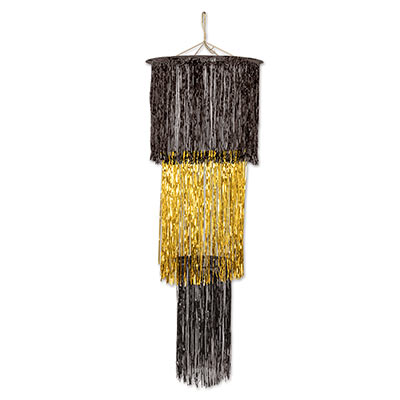 Black & gold tinsel chandelier