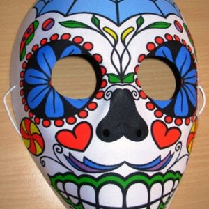Day of the dead mask with blue web
