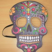 Day of the Dead mask with yellow cross
