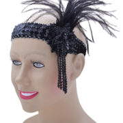 Black sequin flapper headband