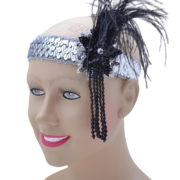 Deluxe silver flapper headband