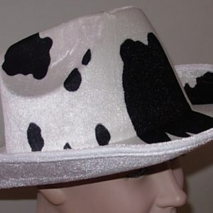Black & white cowhide hat