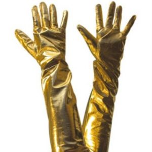 Long gold gloves