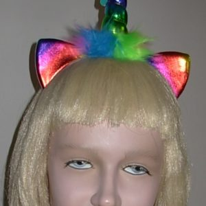 Rainbow coloured unicorn headband