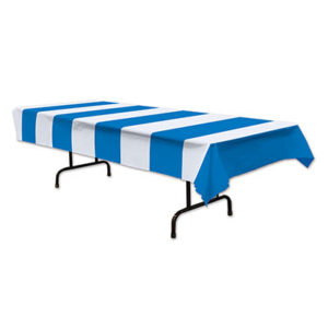 Blue & white stripe tablecover
