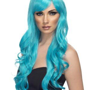 Long curly aqua wig