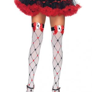 Card suit thigh high stockings