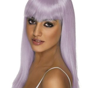 Long straight wig with fringe lilac