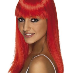 Long red wig with fringe