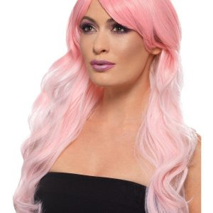 Long Ombre pink wig with fringe