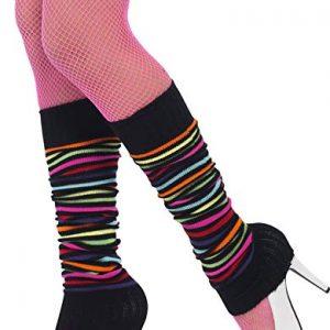 Black & neon stripe leg warmers